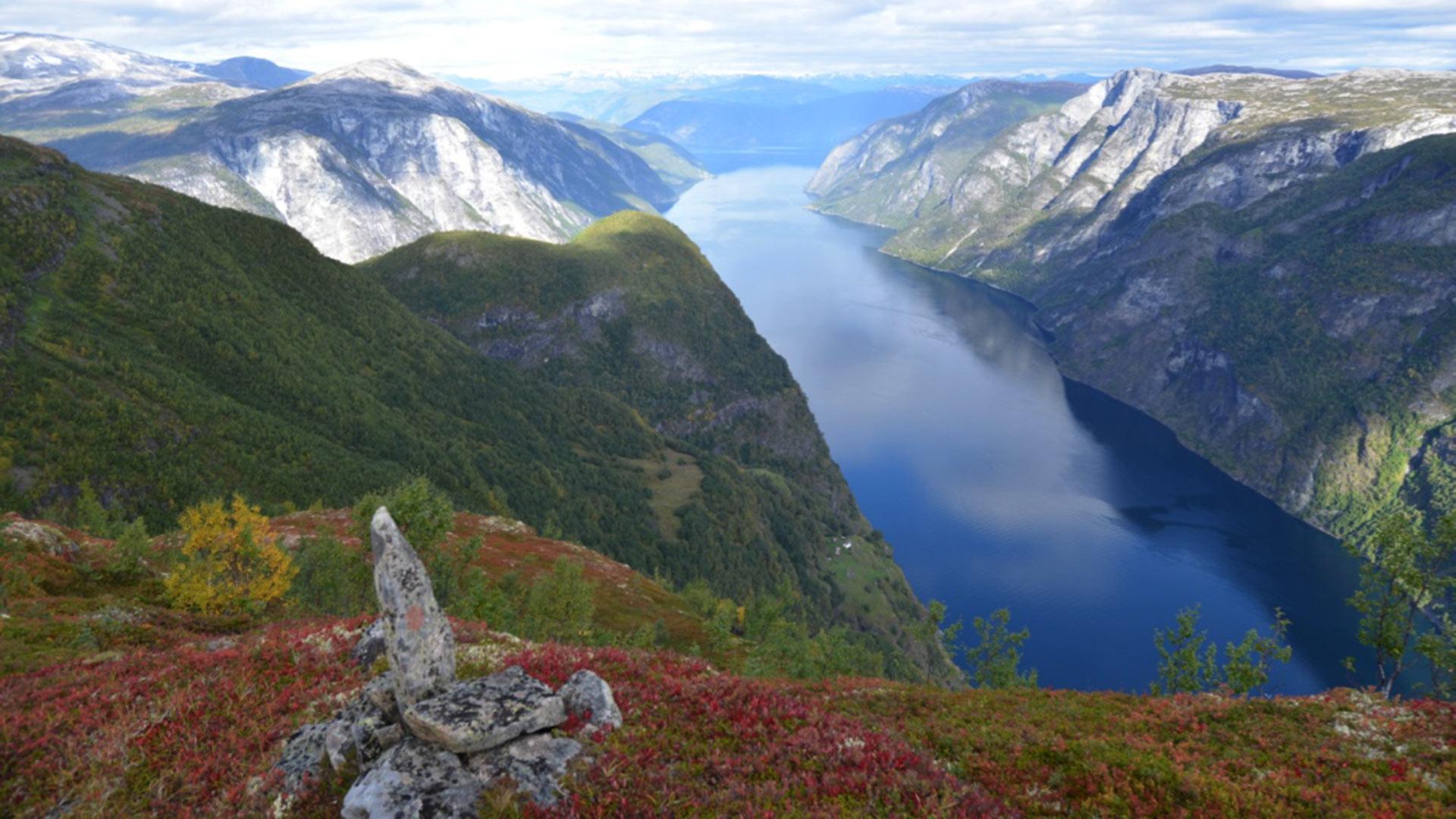 Varde am Berg mit Blick auf den Fjord.
